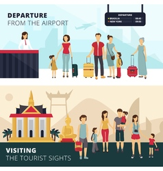 Travelers 2 flat horizontal banners set vector