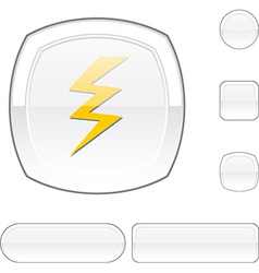 Warning white button vector