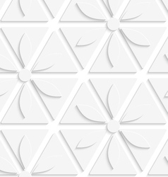 White flowers and triangles seamless vector image vector image