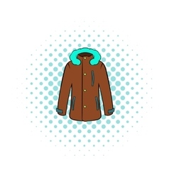 Winter jacket icon comics style vector image vector image