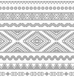 Tribal seamless Aztec stroke black pattern vector image