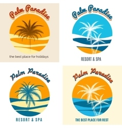 Palm paradise logo set vector