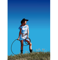 Attractive girl cowboy vector