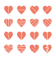 Broken heart icons set vector