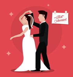 Just married dancing couple happy vector