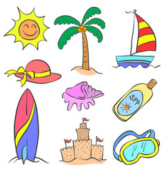 Collection stock of beach holiday object doodles vector
