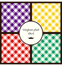 Set of tilted gingham plaid patterns vector