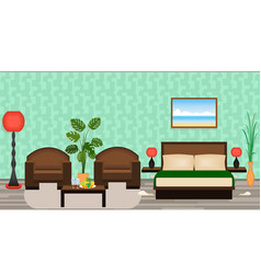 Elegant hotel room interior with furniture lamps vector