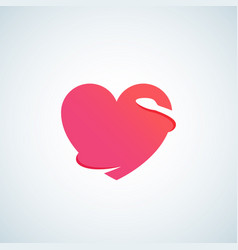 Heart with negative space snake abstract vector