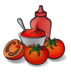 Tomatoes with sauce vector