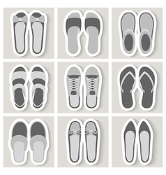 Set of nine woman shoes icons vector