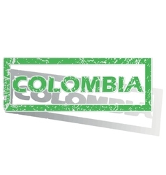 Green outlined colombia stamp vector
