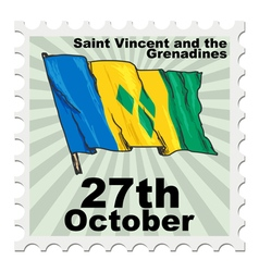 Post stamp of national day of saint vincent and th vector