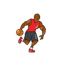 Basketball player dribbling ball cartoon vector