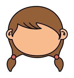 Beautiful little girl head character vector