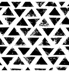 Black and white grunge print triangles geometric vector image vector image