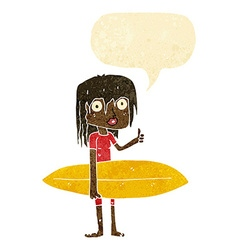 cartoon surfer girl with speech bubble vector image
