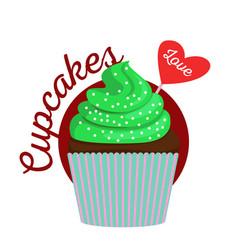 Chocolate cupcake with green cream vector