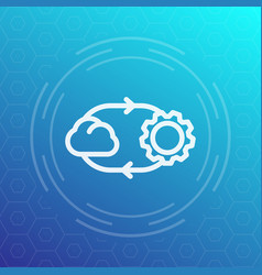 Cloud technology line icon vector