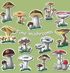 Collection of isolated mushrooms sticker elements vector