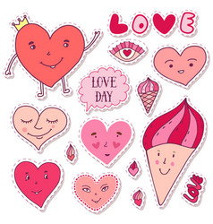 cute girly stickers cartoon doodle hearts vector image