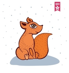 Cute red fox vector