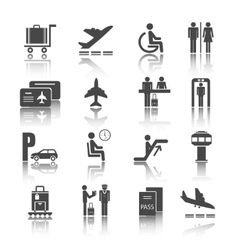 Flat airport icons set vector