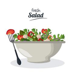 fresh salad bowl with vegetables menu meat fork vector image