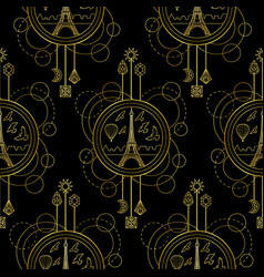 gold eiffel tower seamless pattern vector image vector image