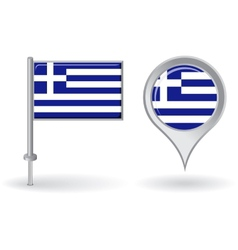 Greek pin icon and map pointer flag vector