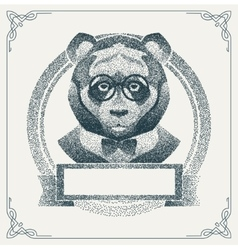 Halftone hipster panda with black dots vector