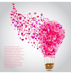 happy valentines day cards with air balloon vector image vector image