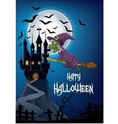 Haunted house with witch flying broom vector