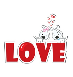 loving dogs couple vector image