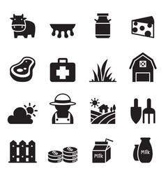Milk farm icons set vector