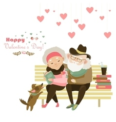 Old couple in love sitting on bench vector
