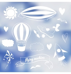 Romantic set with flying transport vector image vector image