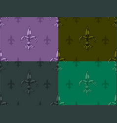 Royal lily graphic seamless color pattern set vector