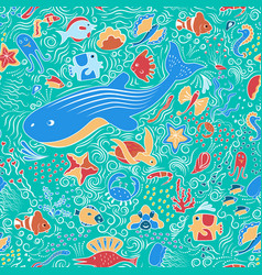 seamless ornamental pattern with fish vector image vector image