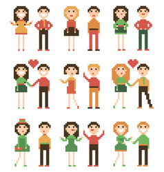 Set of pixel people vector