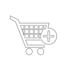 shopping cart with add mark sign black vector image
