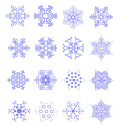 Sixteen snowflakes as winter design element vector