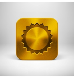 Technology App Icon with Gold Metal Texture vector image vector image