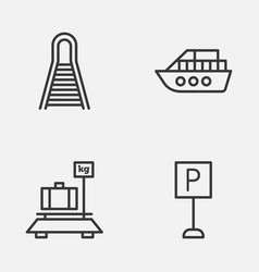 Transportation icons set collection of baggage vector