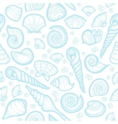 Vintage sea shell set pattern Hand drawn vector image