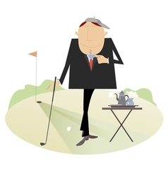 Coffee break on the golf course vector