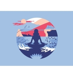 Meditation in lotus position vector