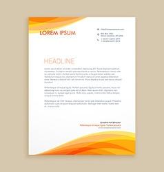 Yellow wave creative letterhead vector