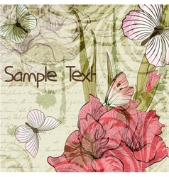 Grungy retro background with gladiolus flowers and vector image