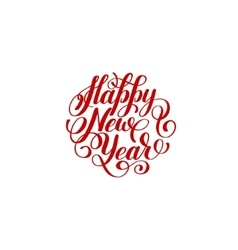 Happy new year circle hand lettering logo vector
